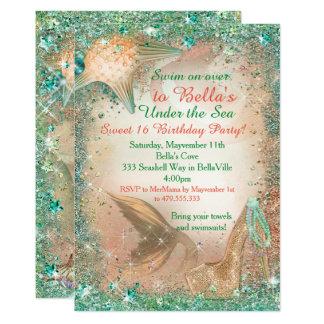 Cartão Sob os convites do aniversário da sereia do mar