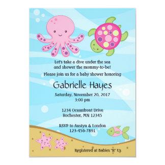 Sob os convites do chá de fraldas do rosa de mar