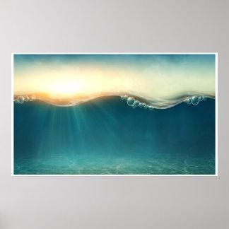Sob poster da arte da fantasia da água o grande
