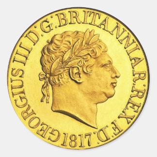 Soberano britânico 1817 do ouro (bloco de 6/20) adesivo redondo