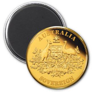 Soberano do ouro de Austrália Ímã Redondo 5.08cm