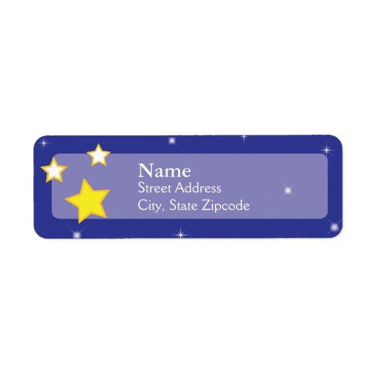 Sobre a lua Stars a etiqueta de endereço do