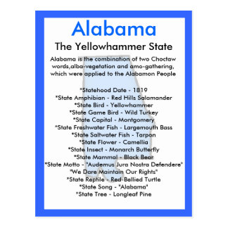 Sobre Alabama Cartão Postal