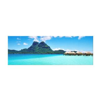 Sobre bungalows da água em Bora Bora Impressão Em Tela