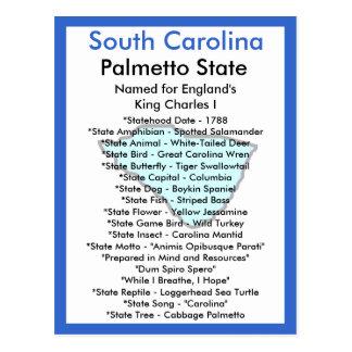Sobre South Carolina Cartão Postal
