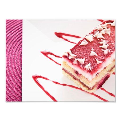 Sobremesa do bolo da framboesa fotografia