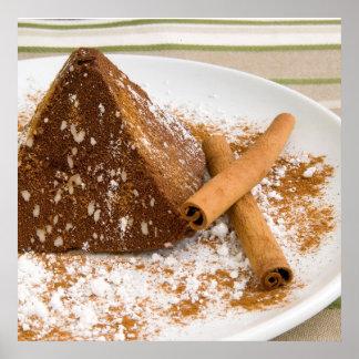 Sobremesa do bolo de chocolate da canela poster
