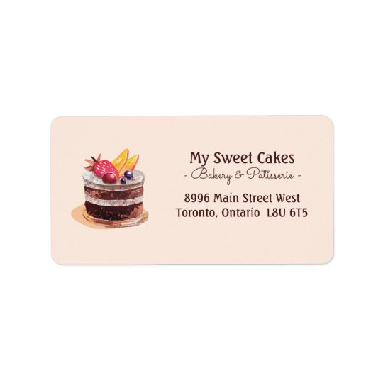Sobremesa elegante do cupcake do patisserie do etiqueta de endereço