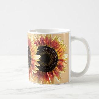 Sobreposição dos girassóis da beleza do outono caneca de café