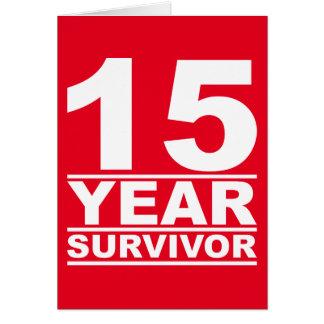 sobrevivente de 15 anos cartão comemorativo