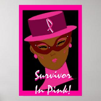 """""""Sobrevivente"""" no poster cor-de-rosa -"""