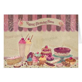 Sobrinha - cartão de aniversário - bolos e doces