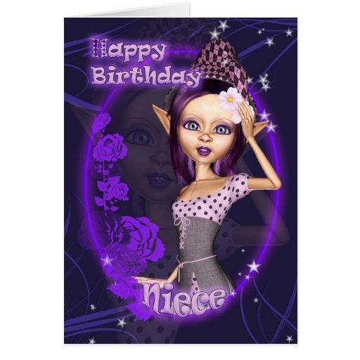 Sobrinha - cartão de aniversário com o duende boni