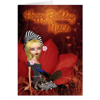 Sobrinha, cartão de aniversário com o duende bonit