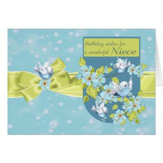Sobrinha, cartão do aniversário com pássaros bonit