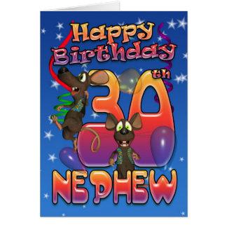 Sobrinho - cartão de aniversário de 30 anos colori