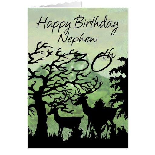 Sobrinho - floresta do cartão de aniversário de 30