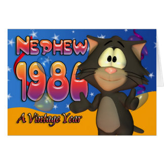 Sobrinho - gato 1980 do cartão de aniversário de 3
