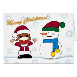Sockmonkey e cartão do boneco de neve