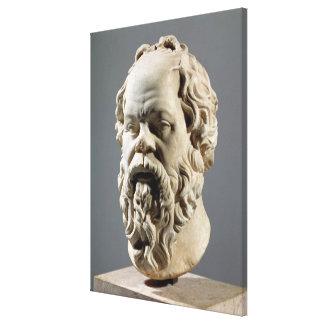 Socrates cabeça de mármore cópia de um bronze do impressão de canvas esticada