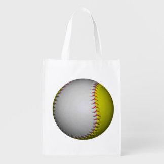 Softball amarelo e branco brilhante sacolas ecológicas para supermercado