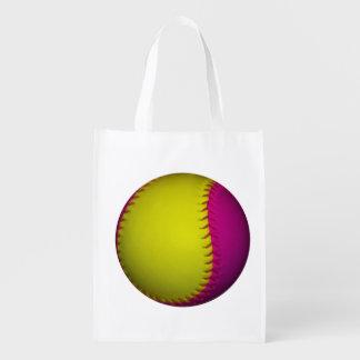 Softball cor-de-rosa e amarelo sacola reusável