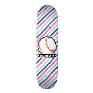 Softball; Listras azuis, cor-de-rosa, & brancas, Shape De Skate 18,7cm