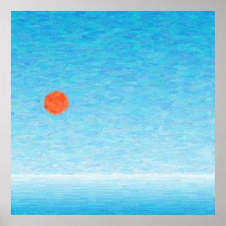 Sol vermelho sobre alto mar pôster