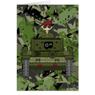Soldado do exército britânico no cartão do tanque