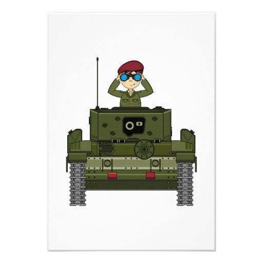 Soldado do exército britânico no cartão do tanque  convites personalizado