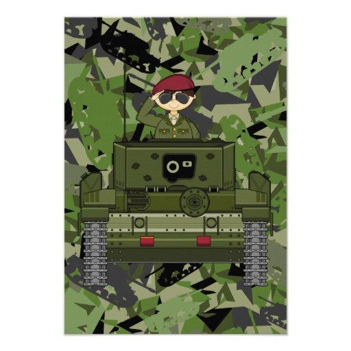 Soldado do exército britânico no cartão do tanque  convites