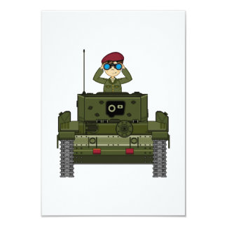Soldado do exército britânico no cartão do tanque convite 8.89 x 12.7cm