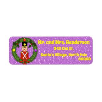 Soldado do Natal em etiquetas de endereço do