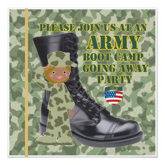 Soldado preto fêmea Boot Camp que parte Convite Quadrado 13.35 X 13.35cm