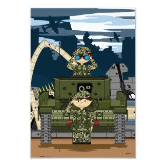 Soldados do exército britânico e cartão da cena convite 8.89 x 12.7cm