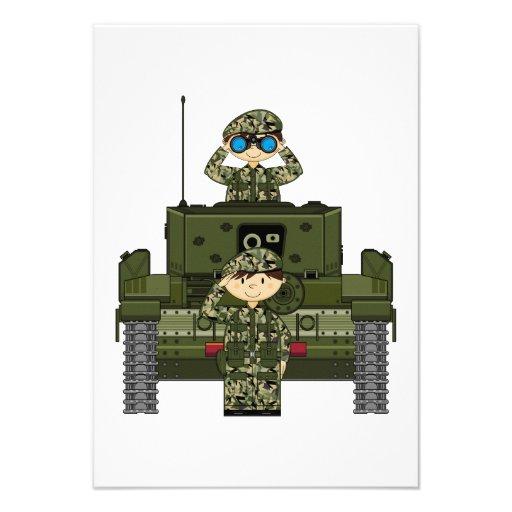 Soldados do exército britânico e cartão do tanque  convites personalizados