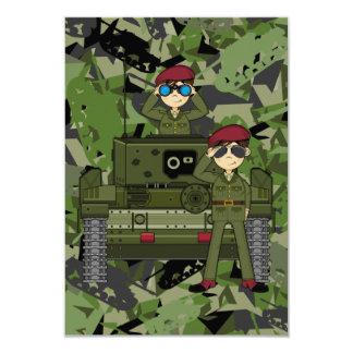 Soldados do exército britânico e cartão do tanque convite 8.89 x 12.7cm