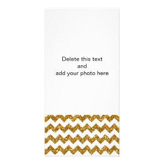 Sólido branco do teste padrão de Chevron do brilho Cartão Com Foto
