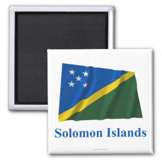 Solomon Island que acenam a bandeira com nome Ímã Quadrado