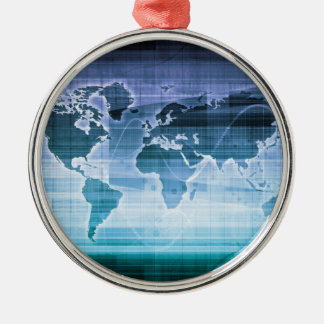 Soluções globais da tecnologia ornamento redondo cor prata