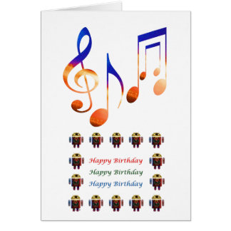 Som da música - feliz aniversario cartão comemorativo