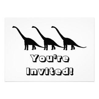 Sombra preta Dino do dinossauro do Brontosaurus Convite Personalizados