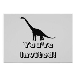 Sombra preta Dino do dinossauro do Brontosaurus Convites Personalizado
