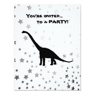 Sombra preta Dino do dinossauro do Brontosaurus Convite 10.79 X 13.97cm
