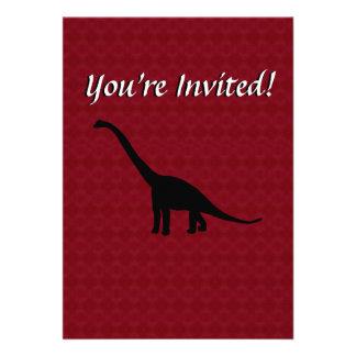 Sombra preta Dino do dinossauro do Brontosaurus Convite Personalizado