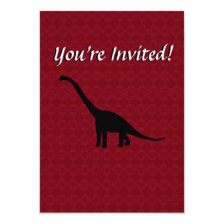 Sombra preta Dino do dinossauro do Brontosaurus Convite 12.7 X 17.78cm