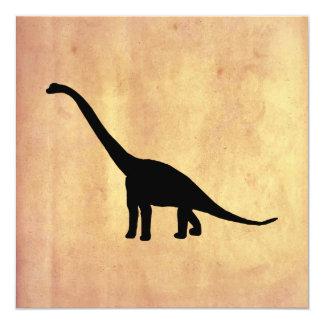 Sombra preta Dino do dinossauro do Brontosaurus Convite Quadrado 13.35 X 13.35cm