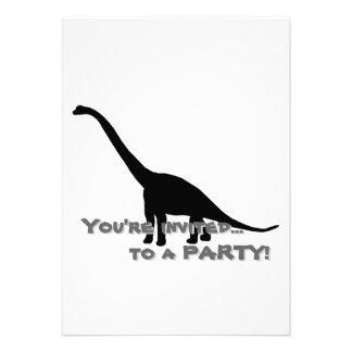 Sombra preta Dino do dinossauro do Brontosaurus Convites