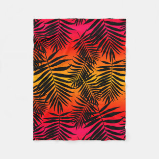Sombra tropical da folha da palmeira no por do sol cobertor de velo