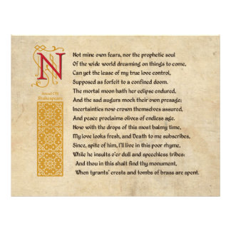 Soneto 107 de Shakespeare (CVII) no pergaminho Modelos De Panfleto